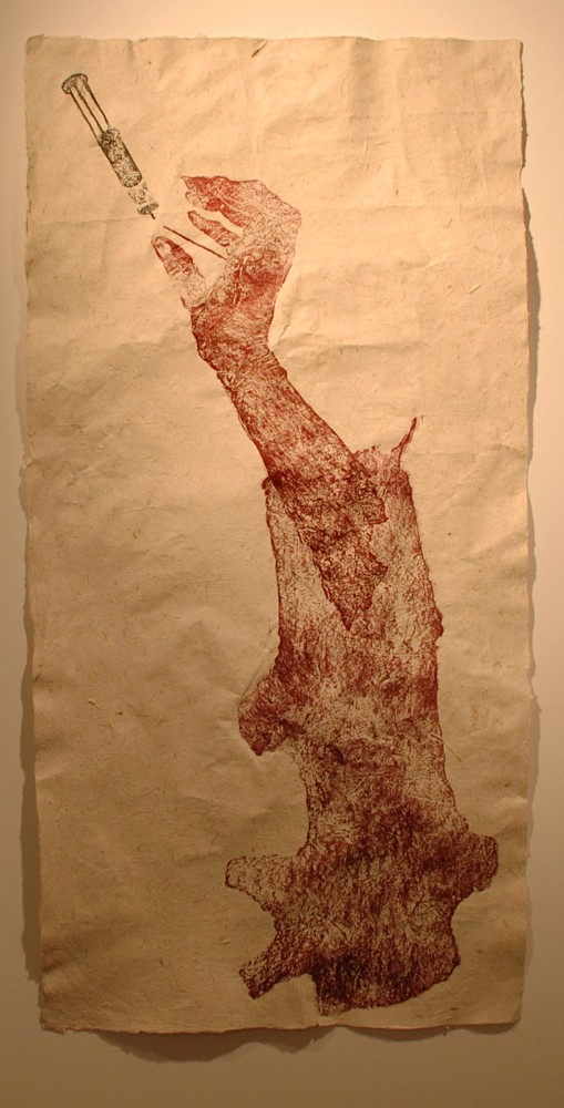 """Connectivity"" - woodcut on artist-made paper of abaca, horse hair, hay fibers - 2' x 4' - 2013"